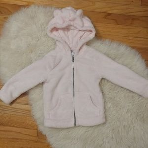 Soft pink cozy bear jacket with hood